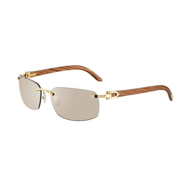Cartier Rimless sunglasses with C decor - Golden finish, wood, brown lenses - Fine Sunglasses for men - Cartier