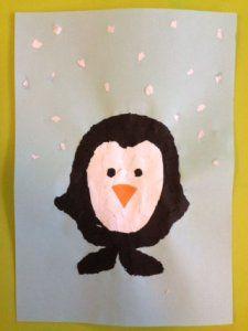 Pinguïn scheuren van papier. Lees op mijn website hoe je dit maakt en bekijk de foto's.