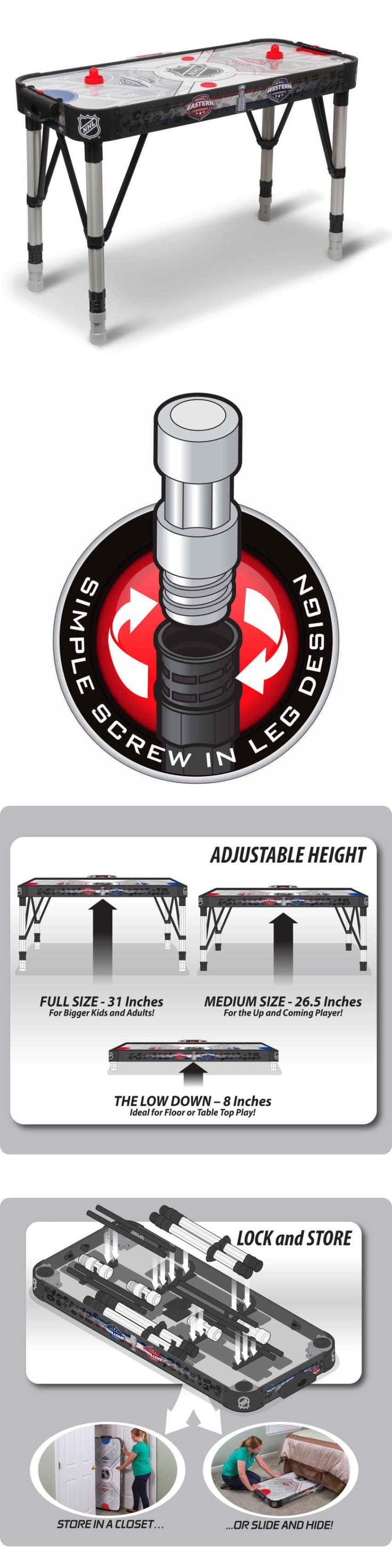 Air Hockey 36275: Game Tables For Game Room Nhl Air Hockey Table 54 BUY IT NOW ONLY: $83.88