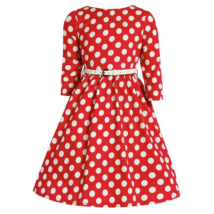 Lindy Bop Mini Holly Red Polka I docela malé slečny chtějí být krásné a co nejvíce se podobat své mamince. Mini kopie dámských retro šatů ve stylu 50. let vhodné na svatbu, dětskou párty, letní dny, narozeninové focení nebo Vánoce. Krásná jasně červená barva posetá bílými puntíky, tříčtvrteční rukávek, boční kapsy, součástí úzký bílý pásek. Příjemná silnější, strečová bavlna s 3% podílem elastanu, zapínání na zip v zadní části.