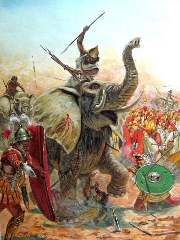 Carthaginian War Elephant battling Republican Roman legionaries