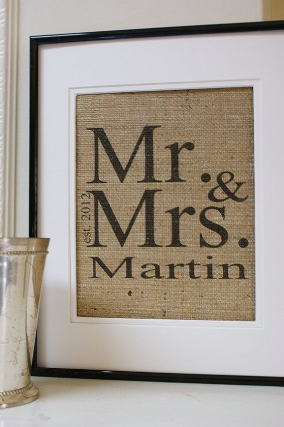 burlap wedding present