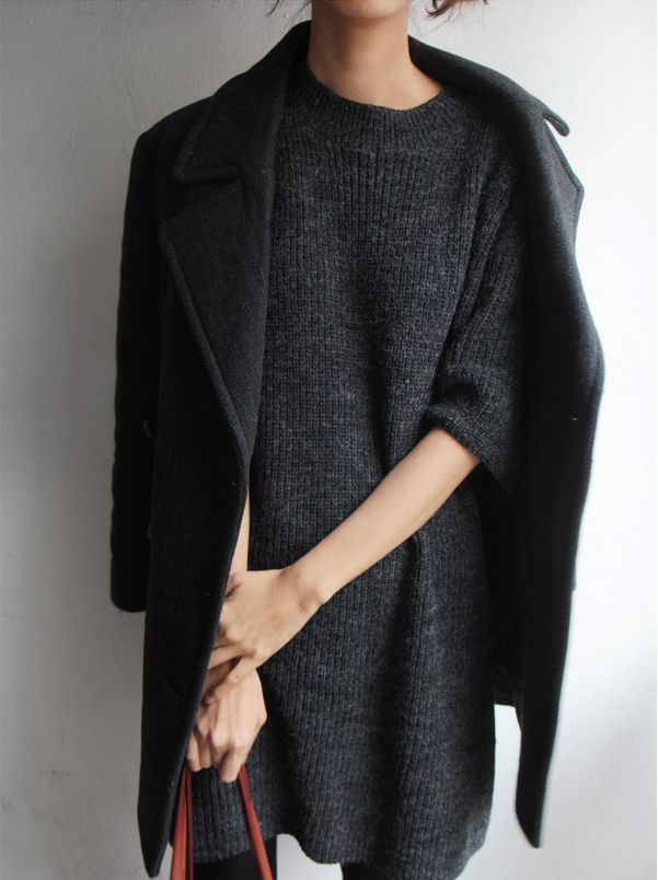 Elevate The Everyday | Shoulder robe a staple black coat over a tonal winter sweater