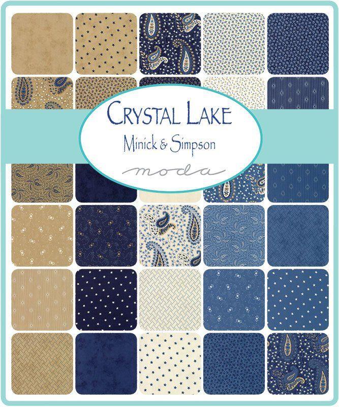 Crystal Lake Charm Pack Moda 14870pp 5 Inch Precut Fabric Squares Minick Simpson Blue Tan Beige Paisley Charm Pack F Quilt Fabric Quilt Kit Crystal Lake