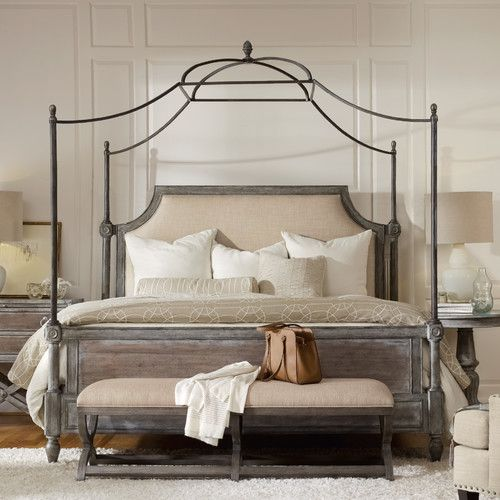 White Upholstered Bed, Transitional Beds And