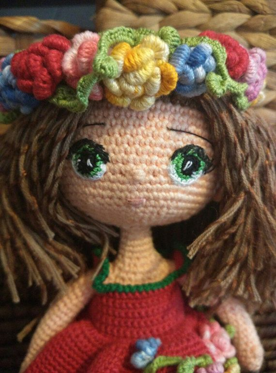 Doll. Toy handmade. Amigurumi. Doll with flowers. Knitted toy. Toy for…