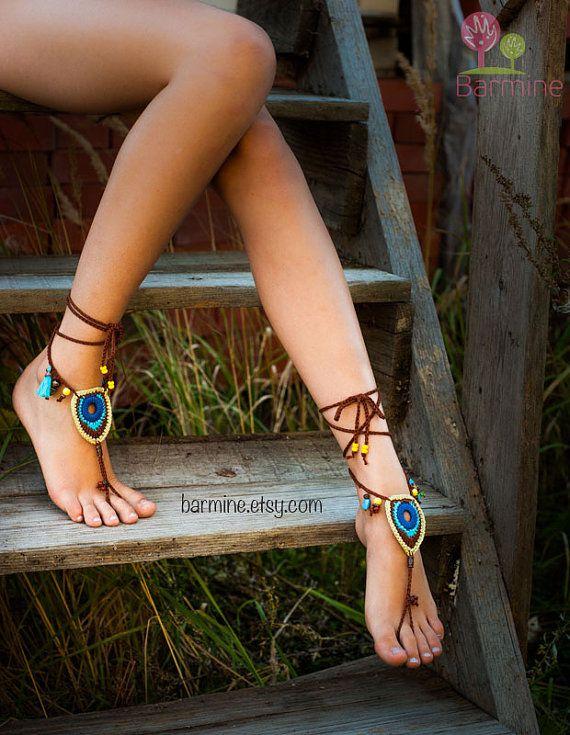 crochet barefoot sandals #summer #sandals #hippie