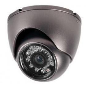 Camera de supraveghere, de tip DOM Antivandal, cu carcasa metalica rezistenta la socuri mecanice si senzor de imagine color 1/4 Sharp CCD 420 linii TV.