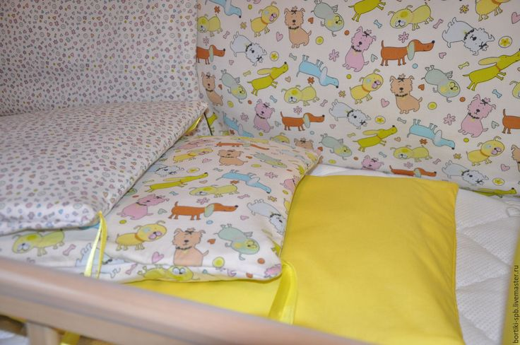 Купить Бортики в кровату желтые, с собачками - бортики в кроватку, бортики в детскую кровать, подушки в детскую