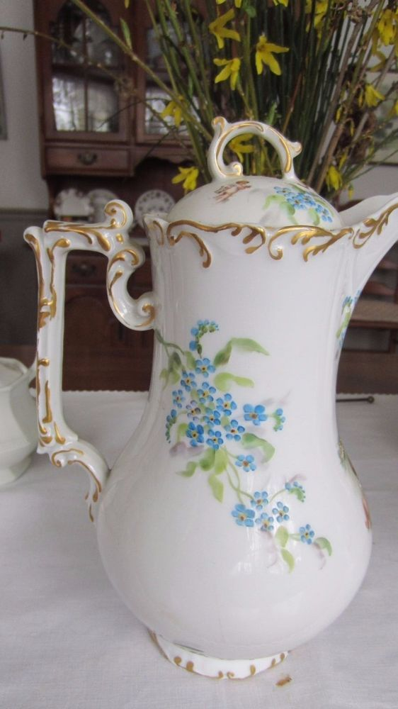 French Gold Trimmed Hand Painted Fine Porcelain Tea Pots