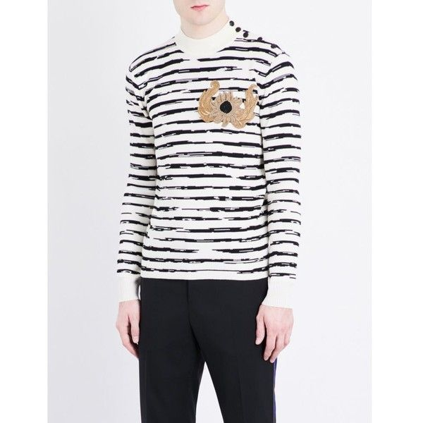 ALEXANDER MCQUEEN Embroidered stripe-print wool jumper ($1,020) ❤ liked on Polyvore featuring men's fashion, men's clothing, men's sweaters, mens crewneck sweaters, mens striped sweater, men's wool crew neck sweaters, mens crew neck sweaters and mens wool sweaters