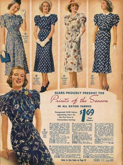 1930's  In this advertisement it has different options of cotton dresses. They're all reserved and very simple.