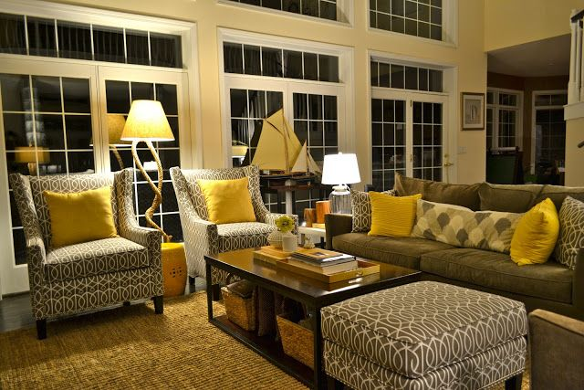 Grey and yellow living room- LOVE this. This is what I want in my family room.