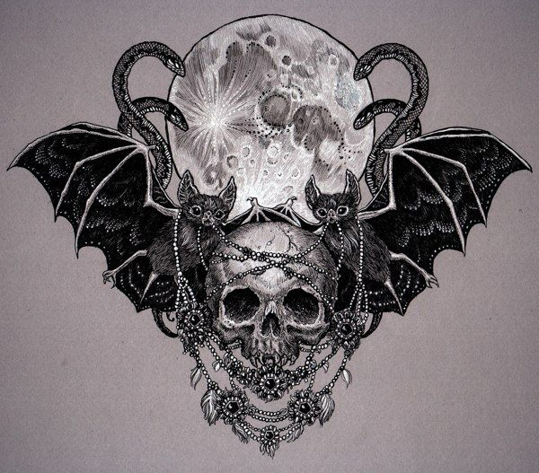 Vampires by julia vysotskaya via behance want to do for Gothic neck tattoos