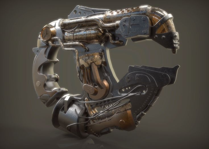 steam punk plasma gun 3d model low-poly obj ma mb blend 1