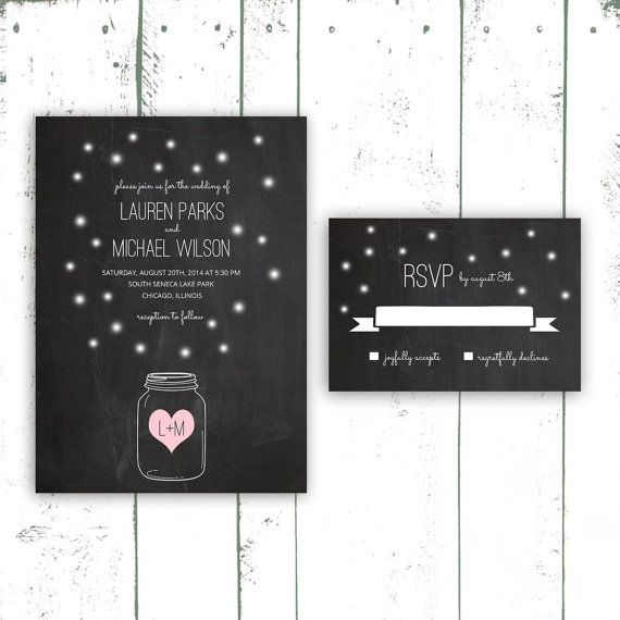 Firefly Wedding Invitation Chalkboard Wedding by MooseberryPaperCo