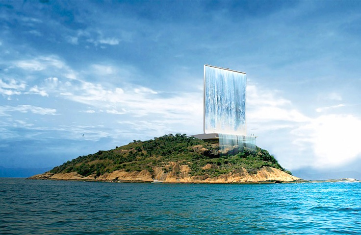 Architect's plan for an island in the Bay of Rio de Janeiro, Brazil - host of the 2016 Olympic Games.