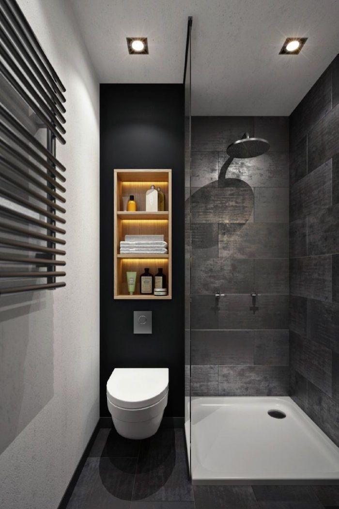 salle de bain grise petite et moderne avec douche italienne et coin