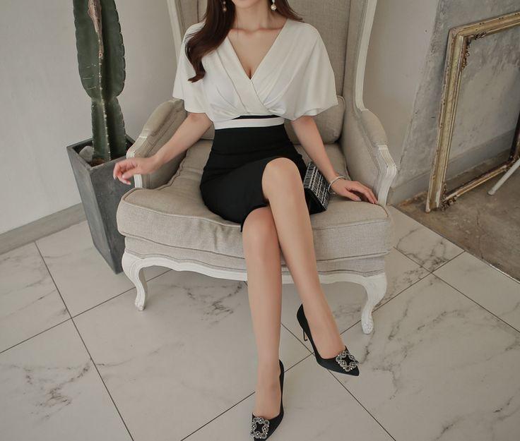 2017 nueva summer dress women bodycon midi vestidos del vendaje del partido sexy con cuello en v vestidos de fiesta blanco negro lápiz patchwork dress en Vestidos de Ropa y Accesorios de las mujeres en AliExpress.com   Alibaba Group
