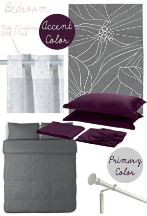 Purple and Grey Bedroom Ideas by betty
