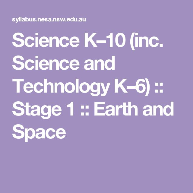 Science K–10 (inc. Science and Technology K–6) :: Stage 1 :: Earth and Space