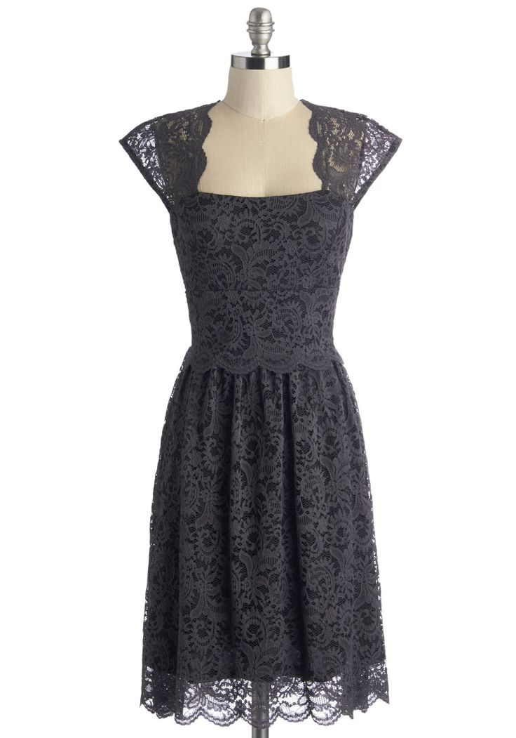 Refined the Way Dress - Knit, Lace, Grey, Solid, Cutout, Lace, Scallops, Wedding, Party, Cocktail, Bridesmaid, A-line, Cap Sleeves, Mid-length