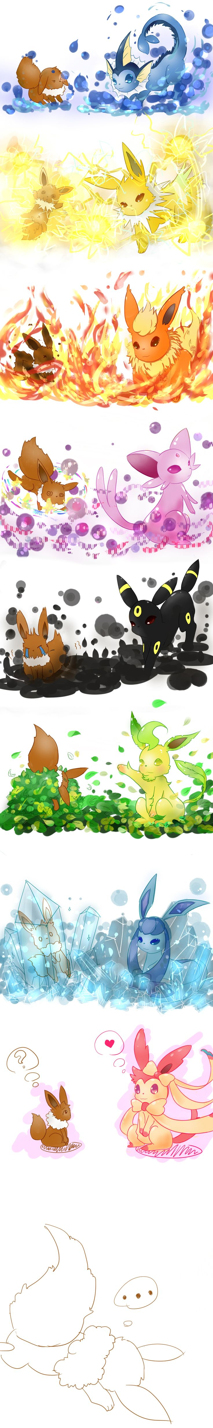 Eevee exposed to the elements xD Poor thing. There is vaporeon, jolteon, flareon, espeon, umbreon, leafeon, glaceon, and sylveon.