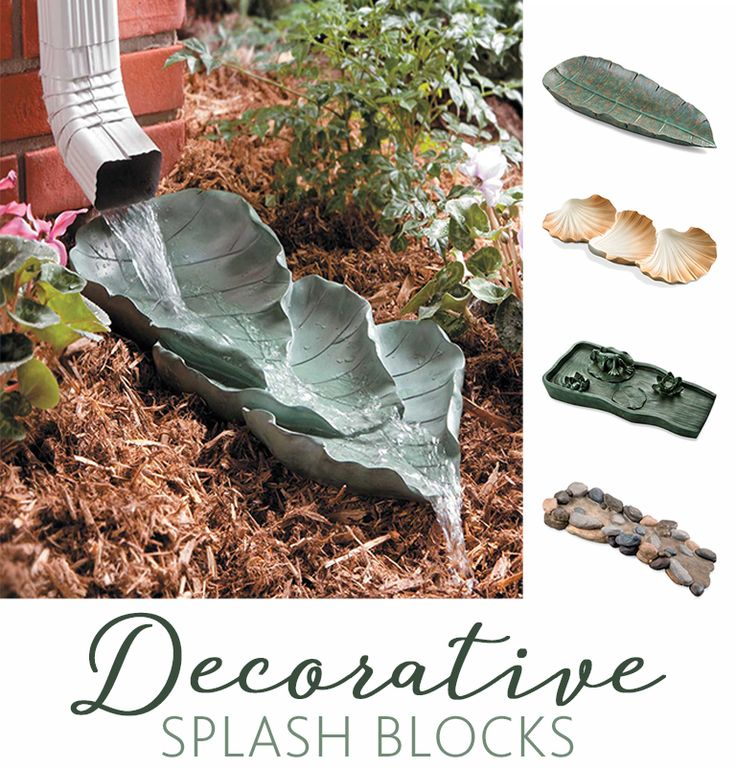 Protect your homes foundation from erosion and moisture problems with these stylish decorative splash blocks. Available in 5 fun shapes: Leaves, Banana Leaf, Shells, Zen Frog, and Rocky Stream. Simply position one of our exclusive splash blocks under your downspout and water will be safely directed away from your house. These downspout splash blocks are lightweight and cast in resin.