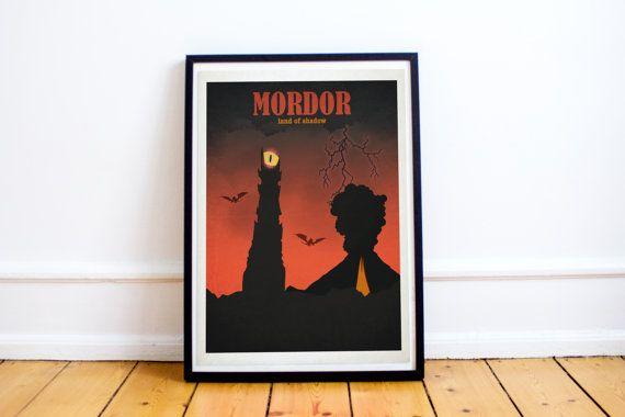 Mordor - Lord of the Rings - Hobbit - Travel Poster Style Art Print - Lord of the Rings Poster - Retro - Wall Art - Home Decor