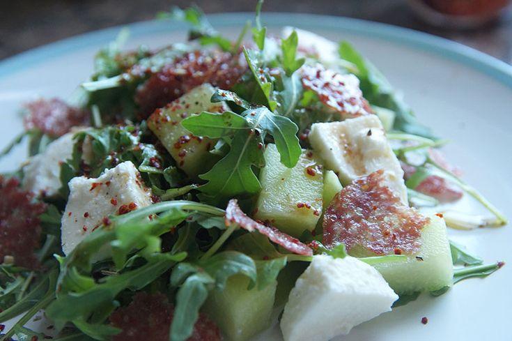Рецепт салат руккола, дыня, моцарелла