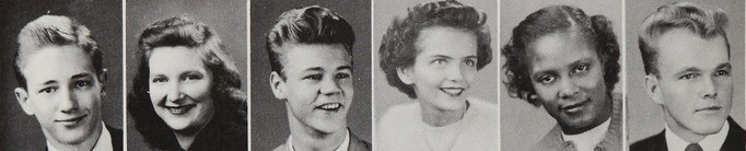 1949 hairdos in the yearbook of Topeka High School in Topeka, Kansas. #Topeka #Kansas #yearbook #1949