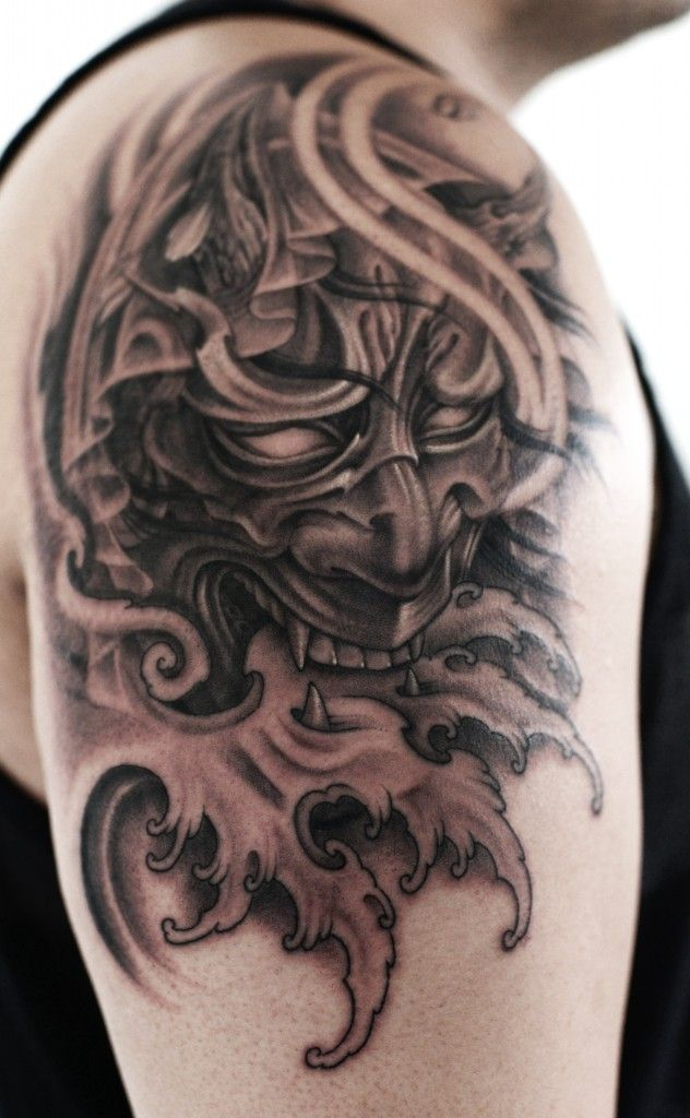 shoulder black and grey hannya mask tattoo full sleeve