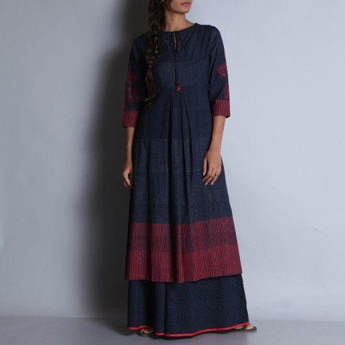 Indigo & Red Hand Block Printed Cotton Kurta With Tie Up Round Neck & Tuck Details