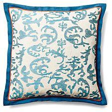 Abstract Ikat 20x20 Pillow, Teal