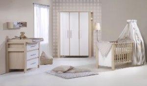 Komplett Kinderzimmer MILANO BUCHE, 3-tlg. (Kinderbett, Umbauseiten, Wickelkommode und 3-türiger Kleiderschrank), buche/weiß