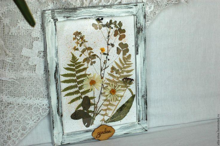 Купить Винтажные рамы с гербарием из сухих цветов - белый, гербарий, картина в подарок, картина для интерьера