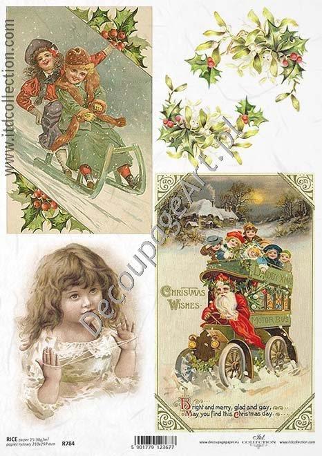 Papier ryżowy ITD Collection 784 - Zimowe dzieci Papier do decoupage - sklep DecoupageArt.pl