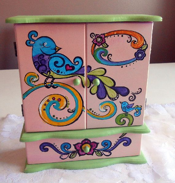 Hand Painted Shabby Chic Kids Jewelry Box on Etsy, $25.00