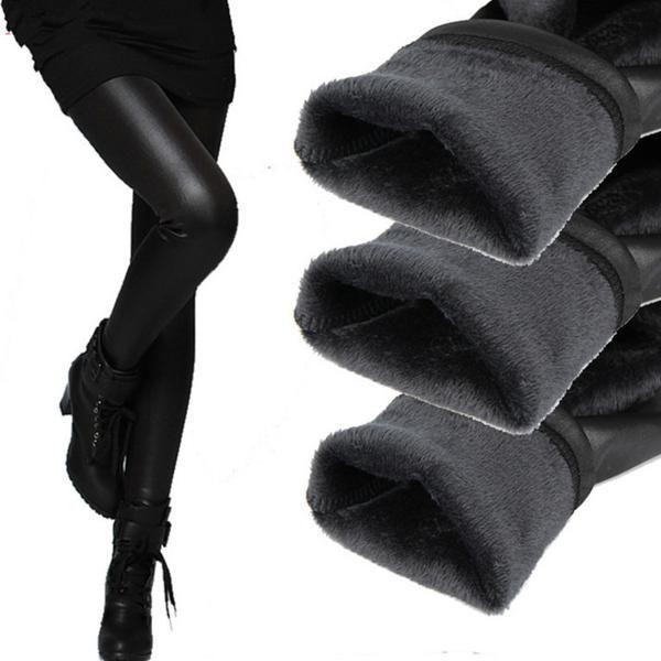 Women Pants Winter Warm Pencil Tights Female Elastic Bottom Leather Trousers pants & capris