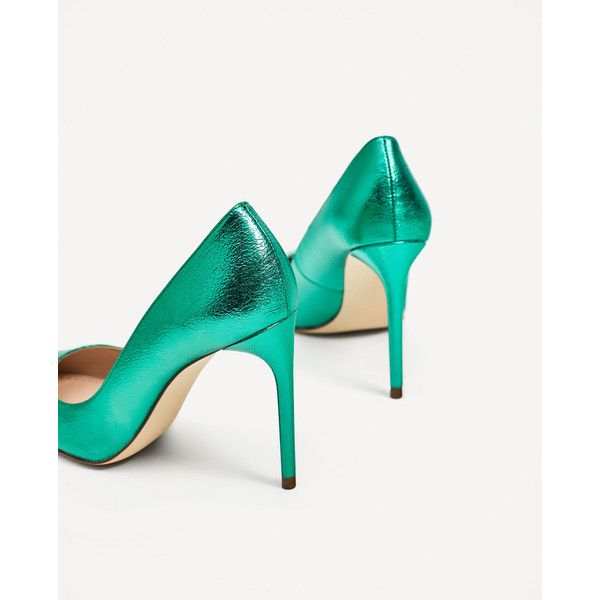 METALLIC GREEN COURT SHOES - SHOES-WOMAN-COLLECTION AW/17 | ZARA... ($50) ❤ liked on Polyvore featuring shoes, pumps, green pumps, green shoes, metallic pumps and metallic shoes