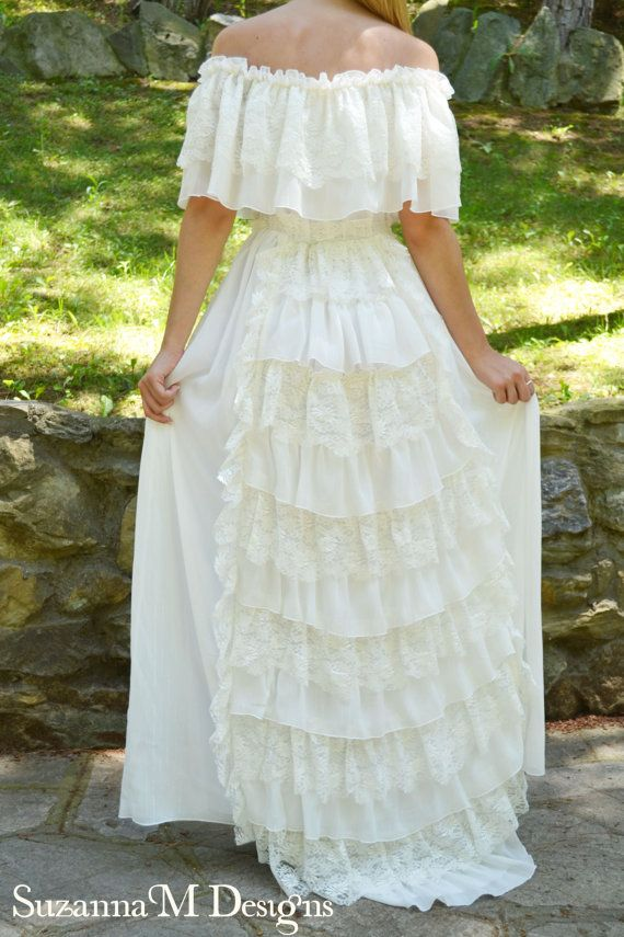 Lace Ivory Wedding Dress Vintage Bohemian Gown  by SuzannaMDesigns