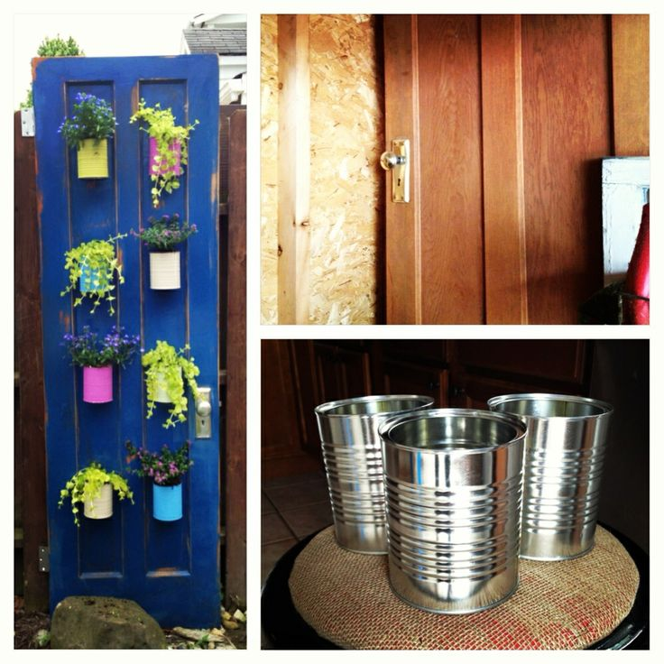 Planter I Made Out Of An Old Door And Some Empty Baby Formula Cans