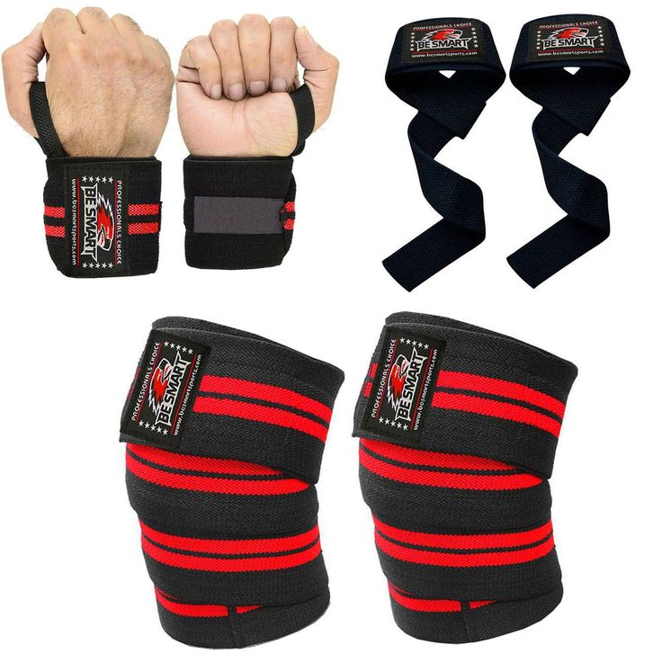 Knee Wraps Weight Lifting Body Building Gym Training Support Leg Wrist Straps R