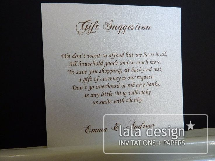 Silver and black gift suggestion card
