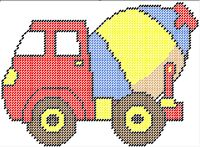 Cement Mixer, Kids Construction wall hanging set, Pattern can be purchased on my website @ http://plasticcanvas.ca       Artwork by ClipArtopia