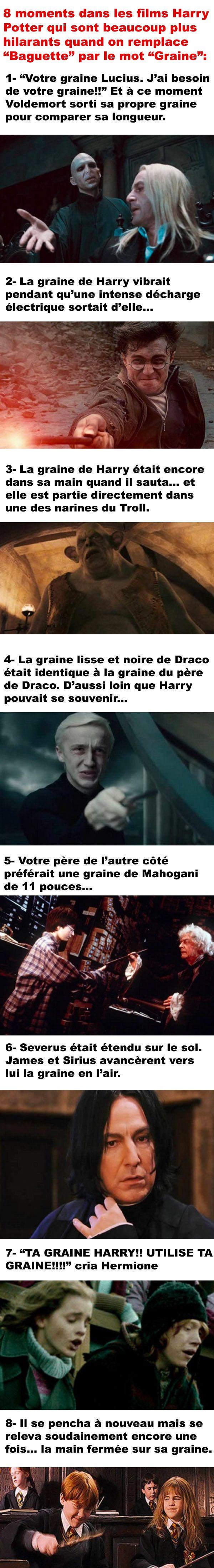 8 Moments Dans Harry Potter Quand On Remplace Baguette Par Le Mot Graine Funny Times Harry Potter Potterhead