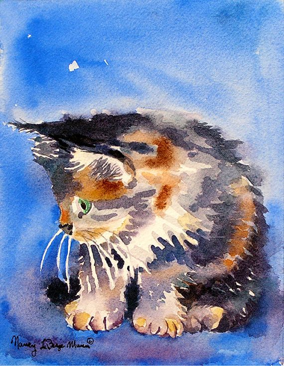 Calico cat painting A Giclee. print of a watercolor by LaBerge