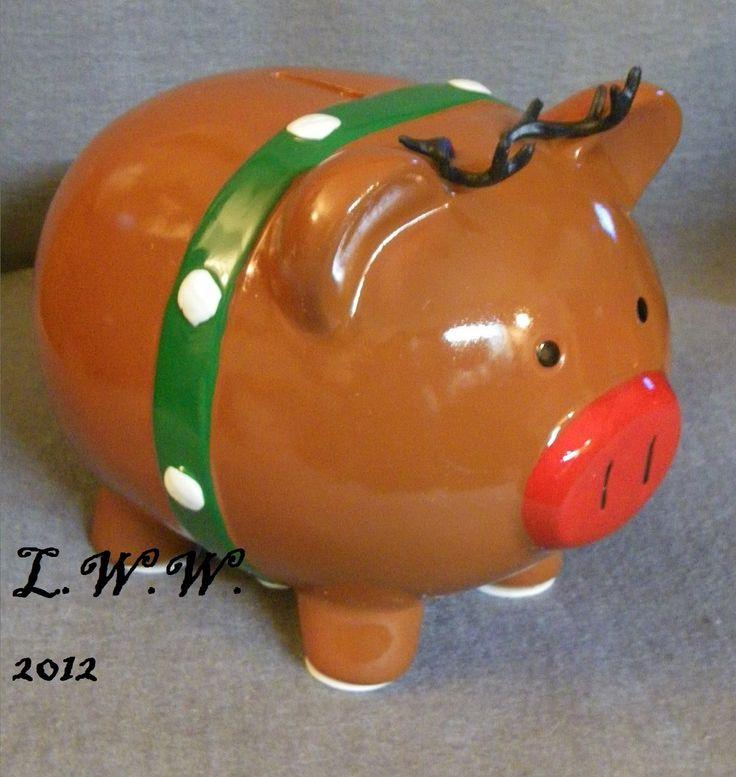 Large Ceramic Christmas Santa's Rudolph Reindeer Piggy Bank