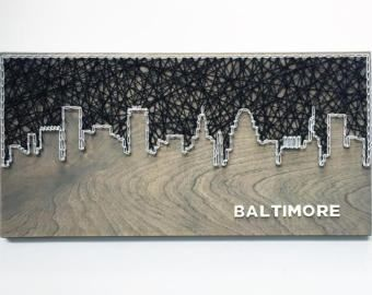 Baltimore Skyline String Art - Baltimore Art - Maryland Art - Baltimore skyline
