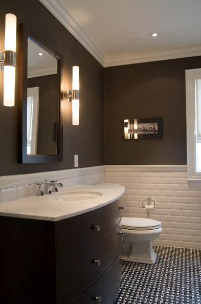 suzie toronto interior design group yummy chocolate brown modern bathroom with chair rail